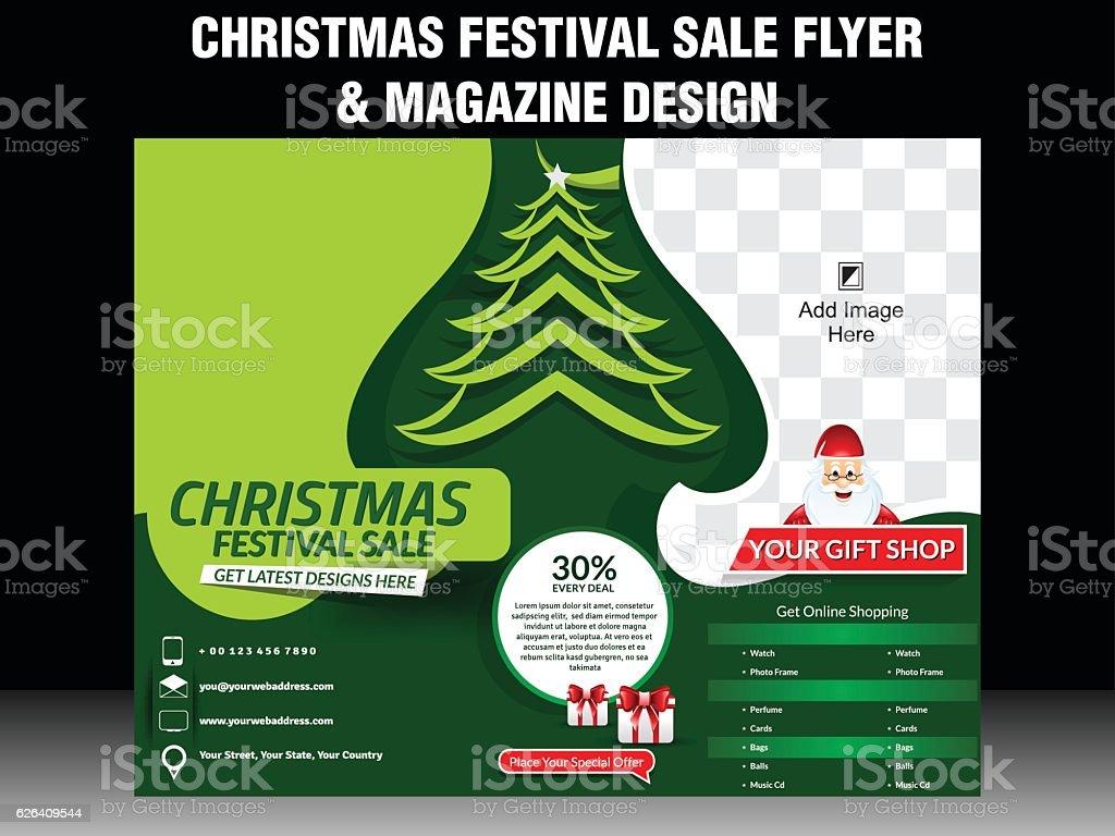 christmas festival sale flyer magazine design template