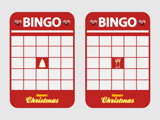 Christmas festive blank decorated bingo cards Christmas Festive Red Blank Bingo Cards Decorated with Christmas Tree Champaign Glasses and Merry Christmas Text Over White Background bingo stock illustrations