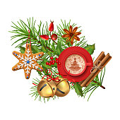 Christmas vector festive decoration with fir tree branch, gingerbread, Christmas bell and cup of coffee isolated on white