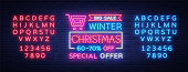 Christmas festive sale of a poster in a neon style. Vector discount card, neon sign, bright banner, luminous sign, night advertising, Xmas discount sale. Editing text neon sign. Neon alphabet