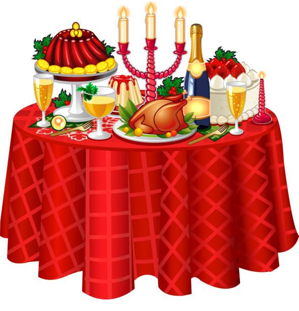 ilustrações de stock, clip art, desenhos animados e ícones de mesa festiva de natal - muita comida