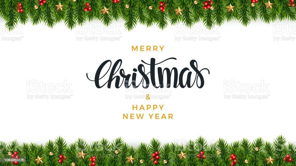 Fundo de abeto de Natal, olhar realista, projeto de férias - Vetor de 2019 royalty-free