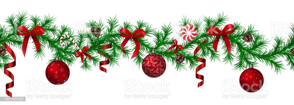 christmas fir border with hanging garland fir branches red. Black Bedroom Furniture Sets. Home Design Ideas