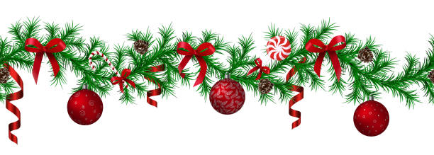 Christmas fir border with hanging garland, fir branches, red and silver baubles, pine cones and other ornaments Christmas fir border with hanging garland, fir branches, red and silver baubles, pine cones and other ornaments, isolated seamless pattern. decoration Christmas ball, Web, vector illustration christmas borders stock illustrations