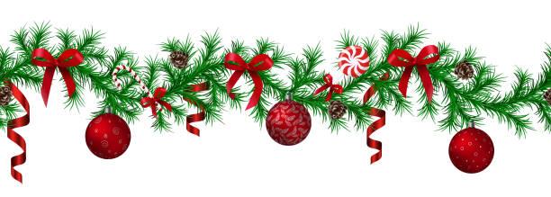 stockillustraties, clipart, cartoons en iconen met kerst fir grens met hangende garland, fir takken, rode en zilveren kerstballen, dennenappels en andere siervoorwerpen - december