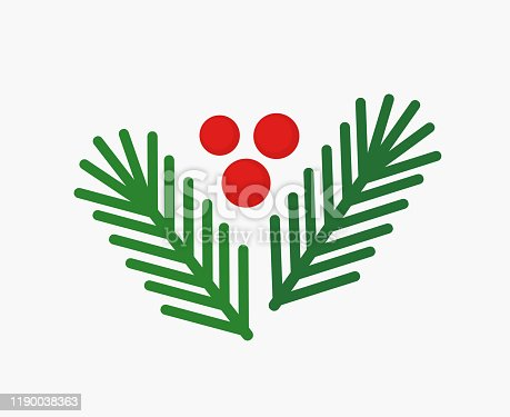 Christmas fir branches and red berries, natural decoration elements. Vector illustration.