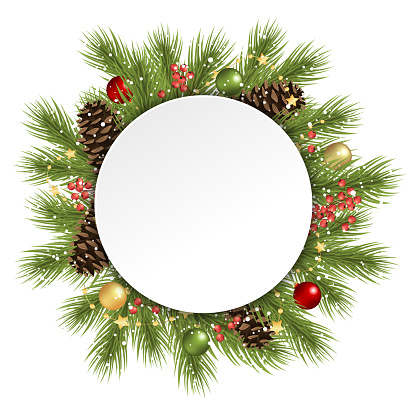 christmas fir branches behind white empty frame