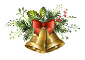 Christmas fir garland with golden bells and red berries. Vector illustration.
