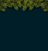 Vector Illustration of Christmas Fir Tree Branches on the dark background. Perfect for Christmas and New Year Posters
