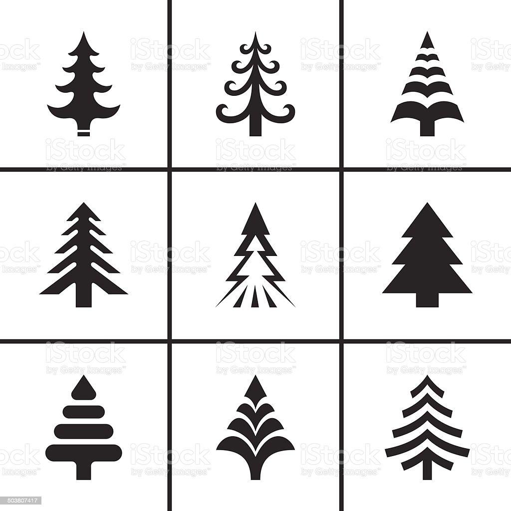 Christmas fir tree icons set vector art illustration