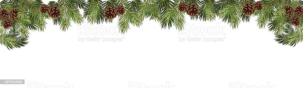 christmas fir tree in a form of a border vector art illustration