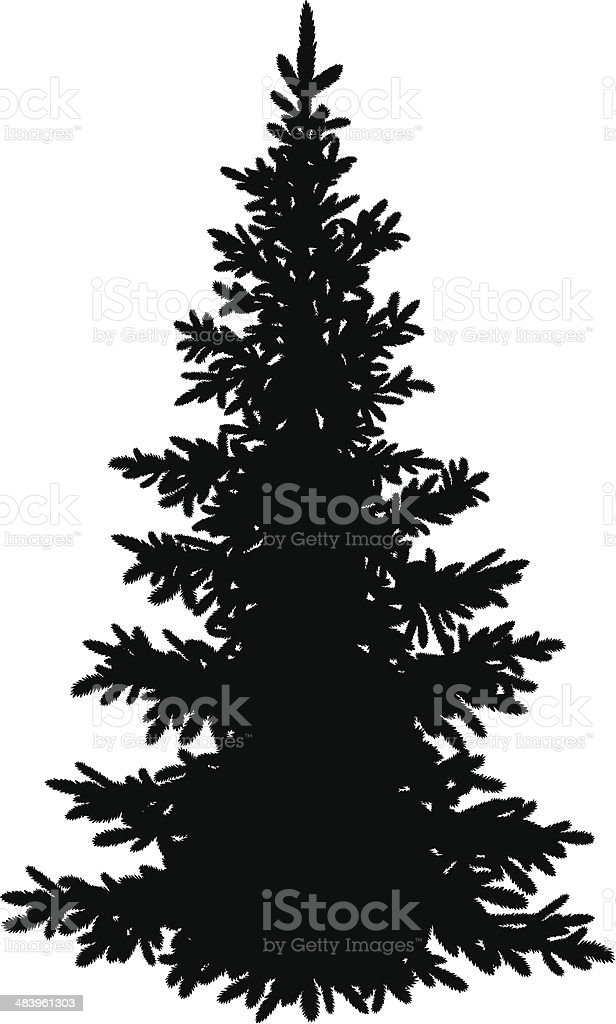 Christmas fir tree, silhouette vector art illustration