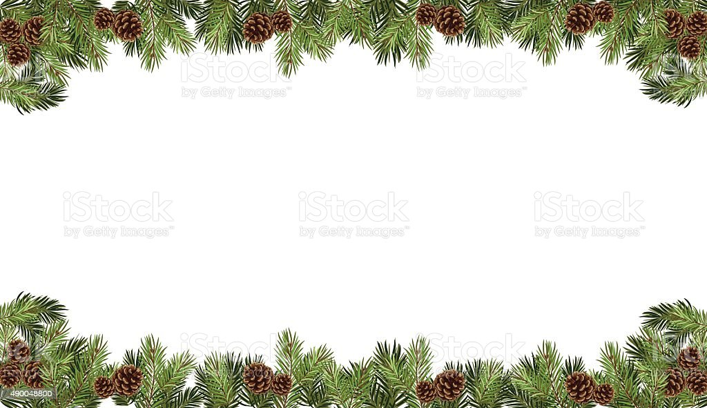 christmas fir tree with cones in a form of frame vector art illustration