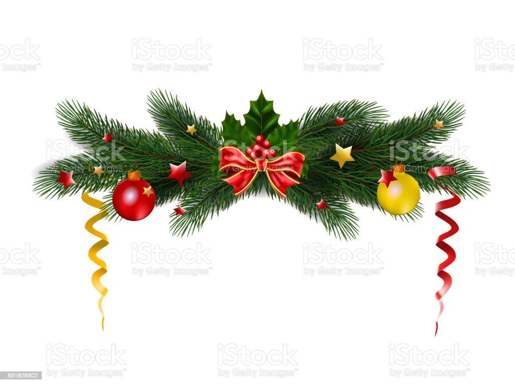 Weihnachten Tradition weihnachten tannenbaum mit holly und tradition dekor urlaub vektor