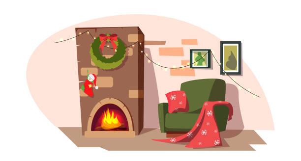 ilustrações de stock, clip art, desenhos animados e ícones de christmas fireplace flat vector illustration - braseiro