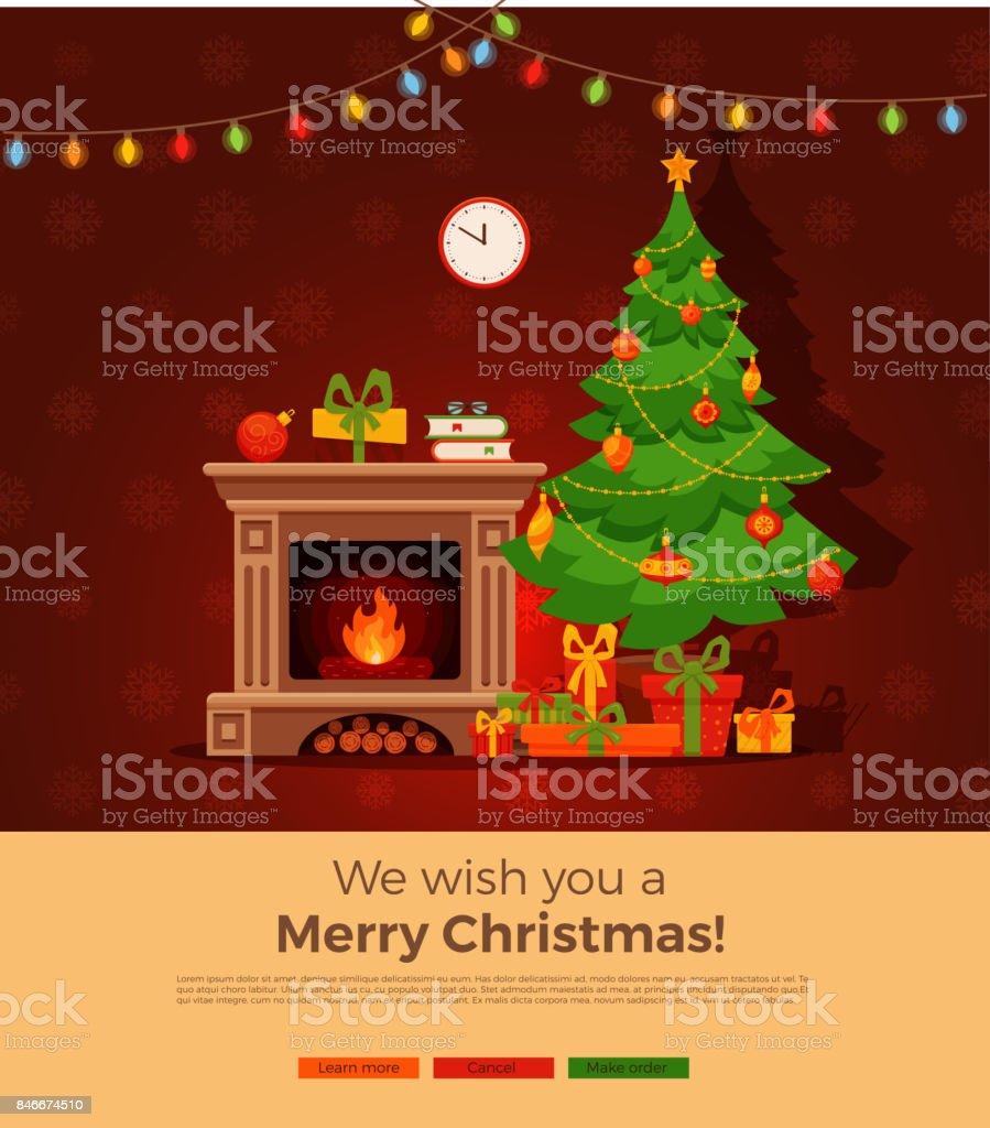 Dibujos Chimeneas De Navidad.Ilustracion De Interior De Sala De Chimenea De Navidad En