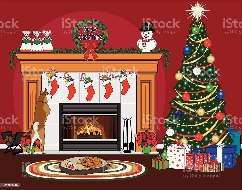 Christmas Fireplace Scene With Pets Royalty Free Stock Vector Art