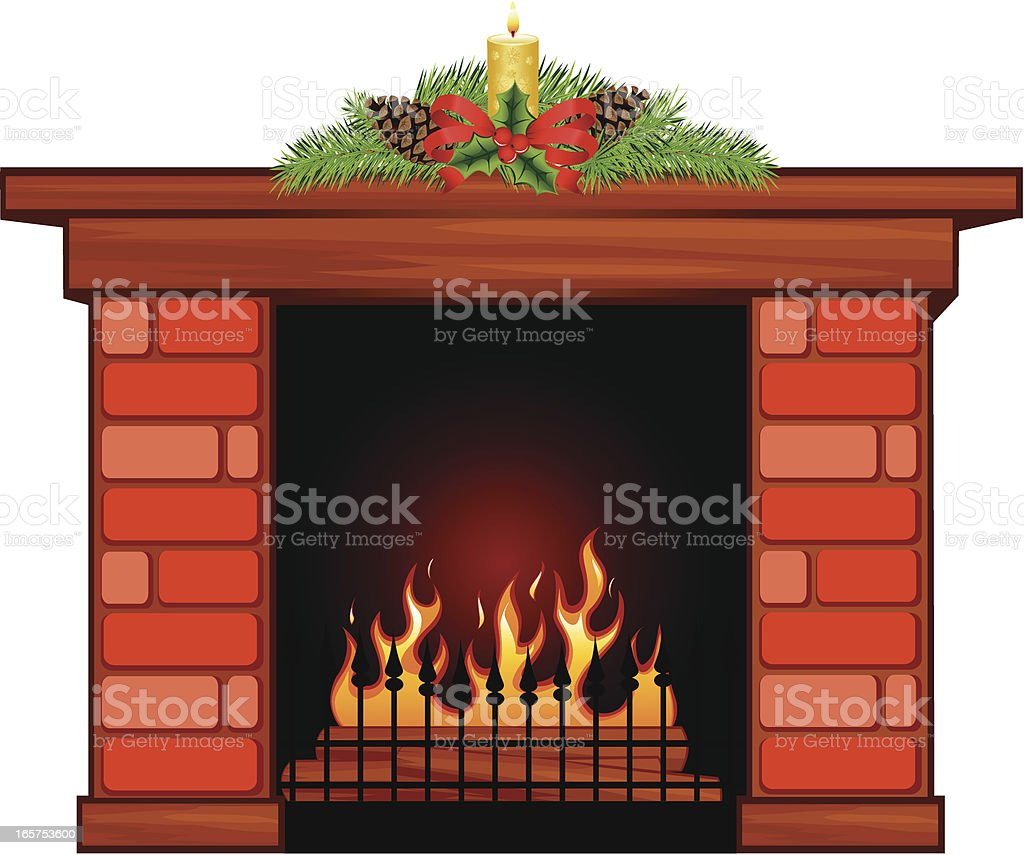 Fireplace Christmas.Christmas Fireplace Stock Illustration Download Image Now