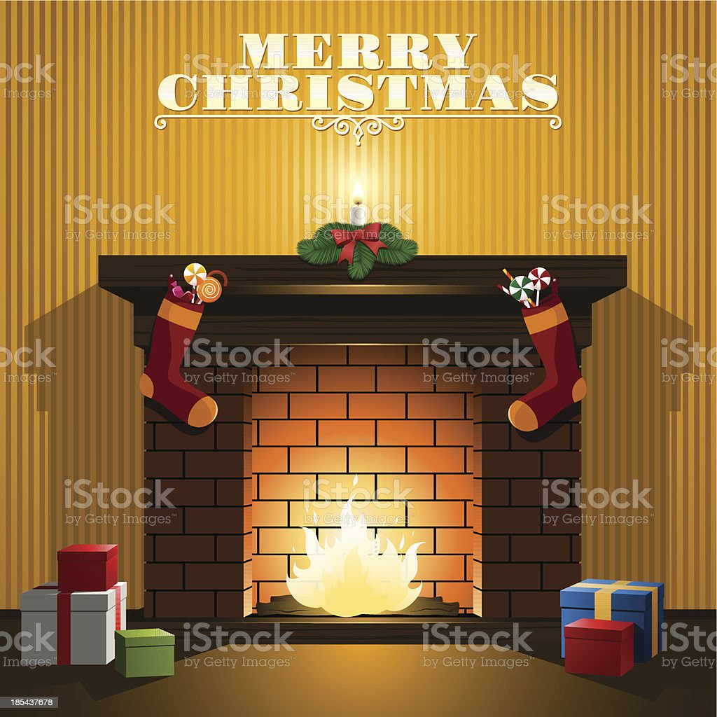 Christmas fireplace royalty-free stock vector art