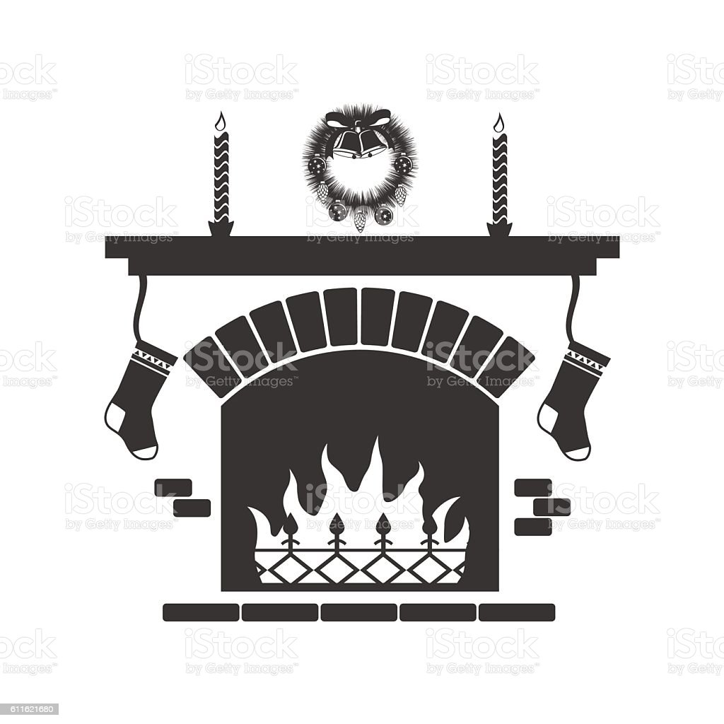 christmas fireplace stock vector art 611621680 istock