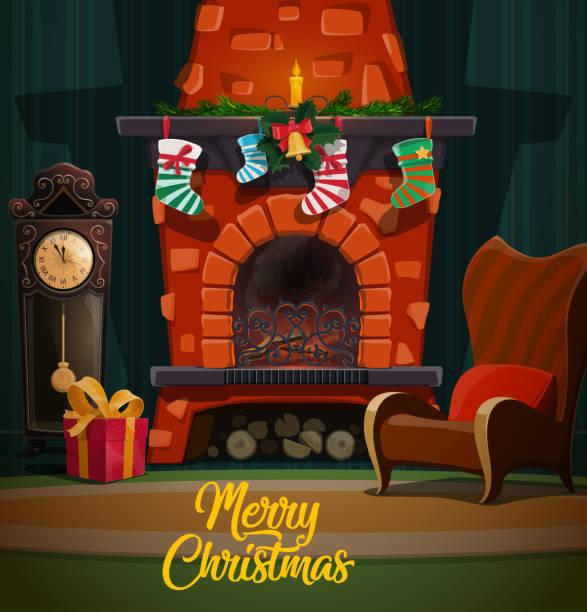ilustrações de stock, clip art, desenhos animados e ícones de christmas fireplace with xmas gifts and stockings - braseiro