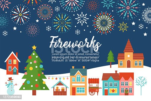 istock Christmas fireworks invitation card design with country village landscape and Christmas tree. Flat style cartoon illustration 1272359590