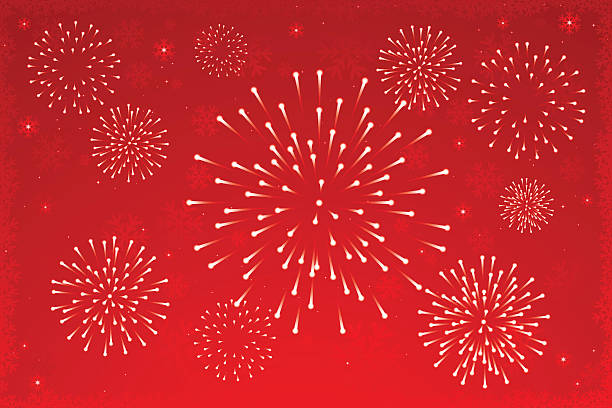 Christmas: Fireworks Fireworks on snowy background. Good for Winter Holidays designs. fireworks stock illustrations