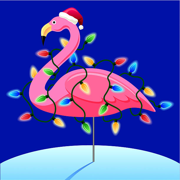Christmas Flamingo Fun image for a holiday greeting card. kitsch stock illustrations