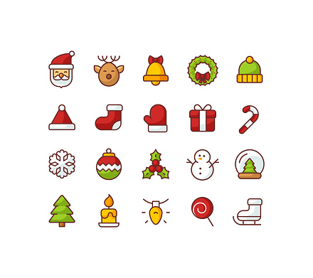 Christmas Flat Color Outline Icons
