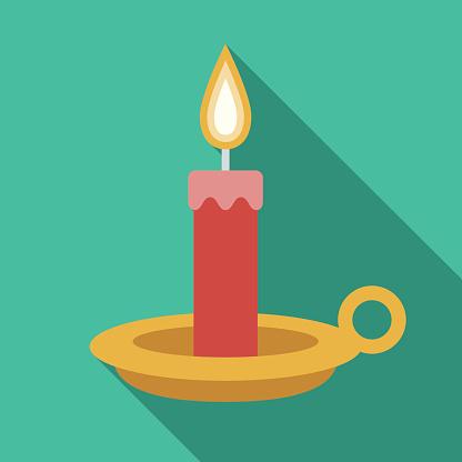 Christmas Flat Design Icon: Candle