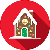 Christmas Flat Design Icon Cute Gingerbread house