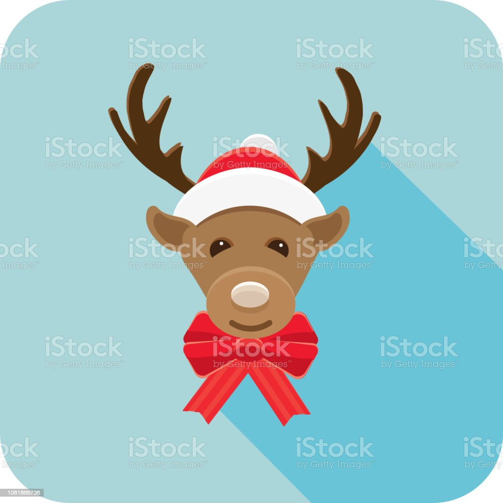 bf3d09b156266 Christmas Flat Design Icon Cute Reindeer with Santa hat and bow royalty-free  christmas flat