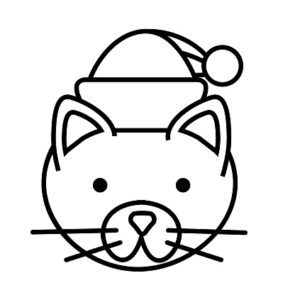 Christmas Flat Design Icon: Domestic cat with Santa Hat