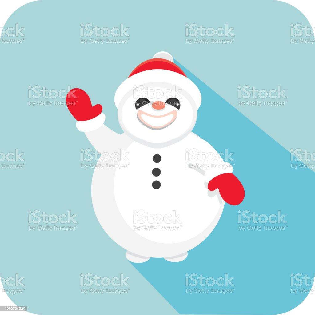 Weihnachten Flache Design Icon Frosty Der Schneemann Winken Stock ...