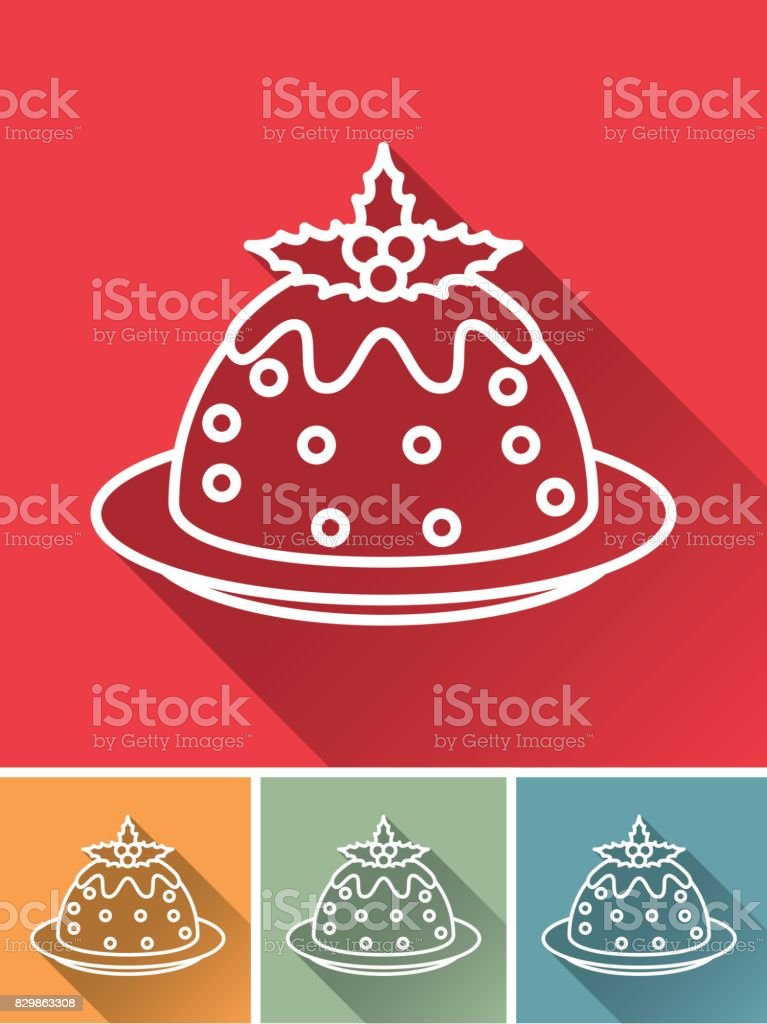 Christmas Flat Design Icon: Fruitcake vector art illustration
