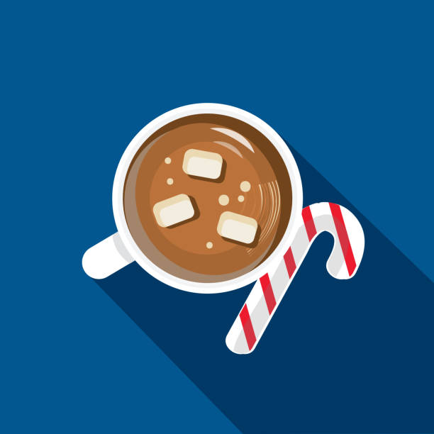 Christmas Flat Design Icon high angle view hot chocolate with marshmallows and candy cane Vector illustration of a Christmas Flat Design Icon. high angle view cup of hot chocolate with marshmallows and candy cane hot chocolate stock illustrations