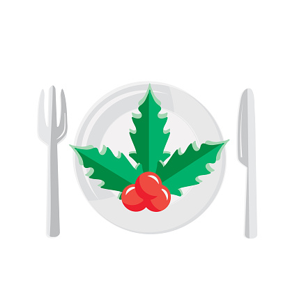 Christmas Flat Design Icon Holiday dinner place setting with mistletoe