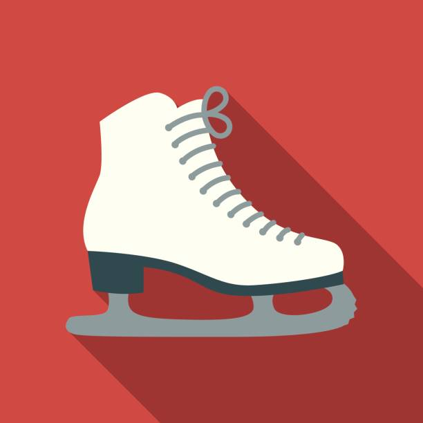 Christmas Flat Design Icon: Ice Skates A flat design style Christmas icon. File is cleanly built and easy to edit. figure skating stock illustrations