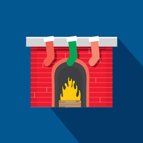 ilustrações de stock, clip art, desenhos animados e ícones de christmas flat design icon mantle fireplace with stockings hung by the fire - braseiro
