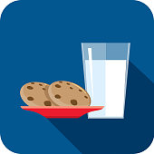 Christmas Flat Design Icon Milk and cookies