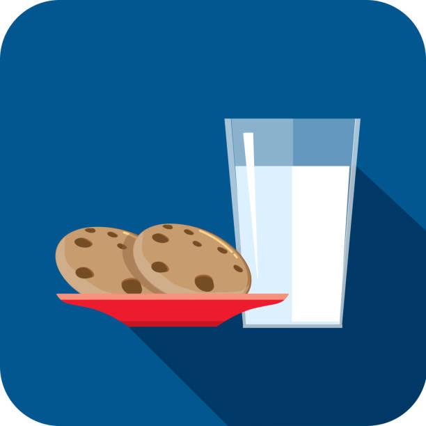 Christmas Flat Design Icon Milk and cookies vector art illustration