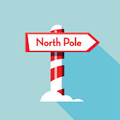 Christmas Flat Design Icon North Pole directional sign with striped pole