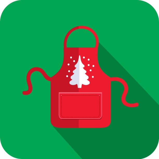 illustrazioni stock, clip art, cartoni animati e icone di tendenza di christmas flat design icon red apron with white christmas tree - christmas cooking