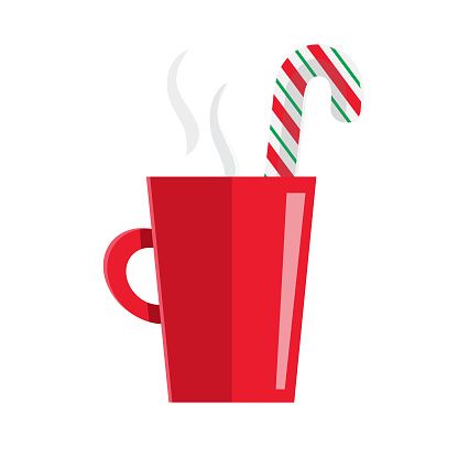 Christmas Flat Design Icon Red Mug with candy cane drink