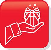 Christmas Flat Design Icon Santa Claus hand holding gift
