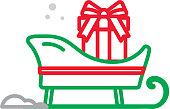 istock Christmas Flat Design Icon Santa Sleigh with Christmas present inside 1061033818