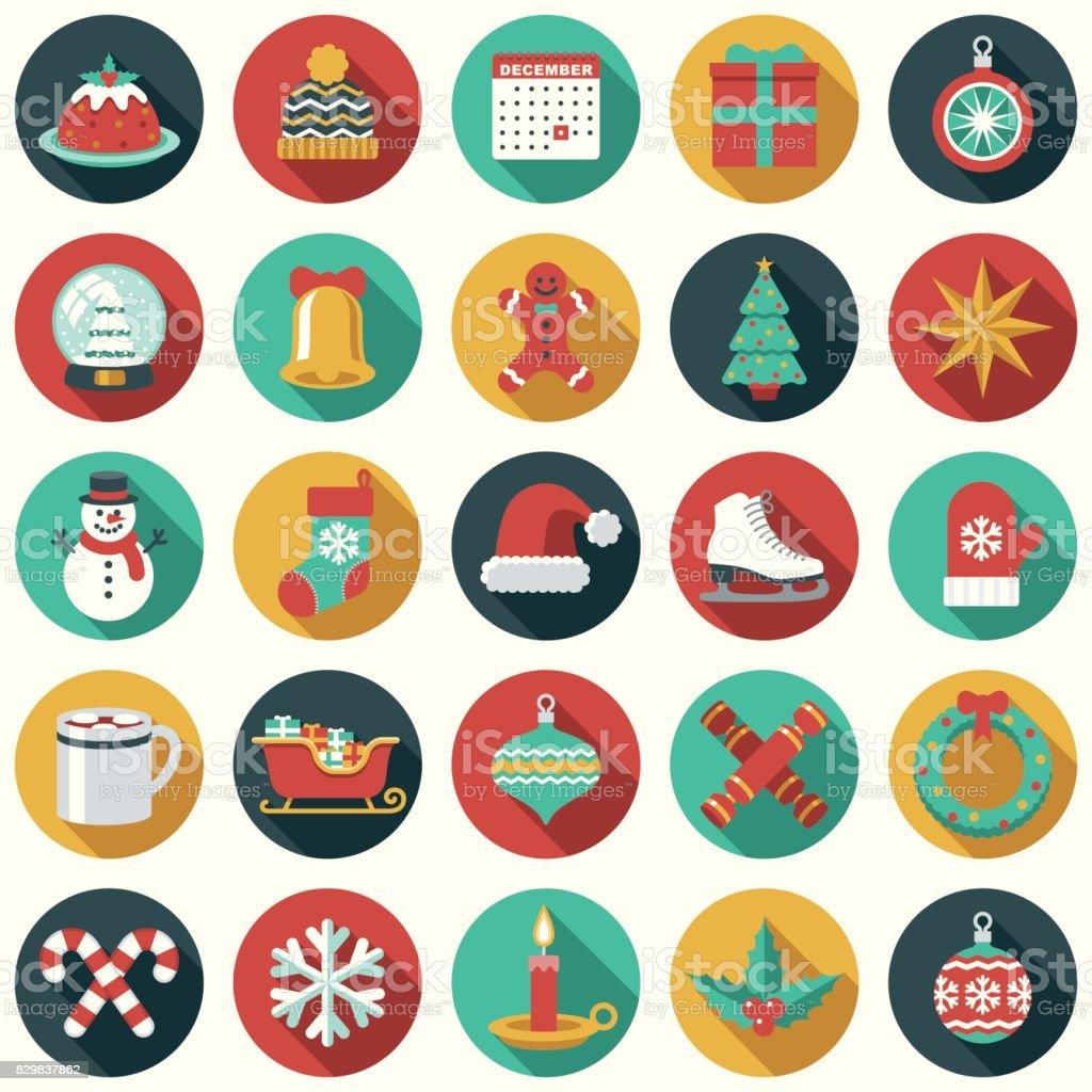 Christmas Flat Design Icon Set vector art illustration