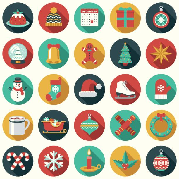 Christmas Flat Design Icon Set A flat design style Christmas icon. File is cleanly built and easy to edit. candy clipart stock illustrations