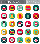 A Christmas and holidays circular flat design style icon set with a long side shadow. File is cleanly built and easy to edit. Vector file is built in the CMYK color space for optimal printing.