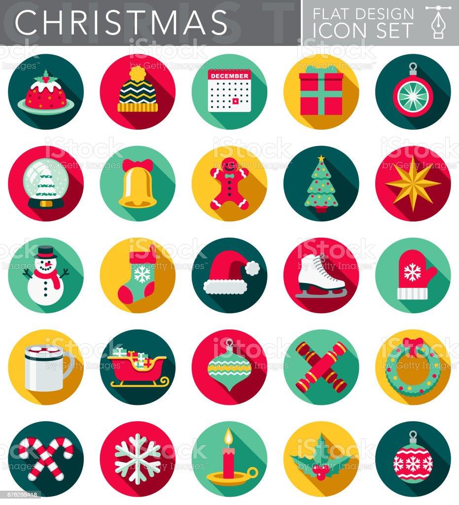 Navidad diseño plano Icon Set con sombra lateral - ilustración de arte vectorial
